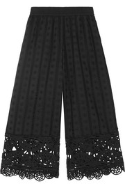 Cropped broderie anglaise cotton wide-leg pants