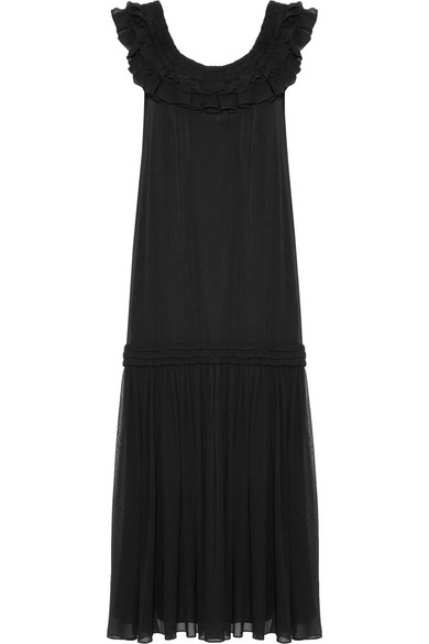 OPENING CEREMONY RUFFLED PLEATED SILK-CHIFFON MAXI DRESS