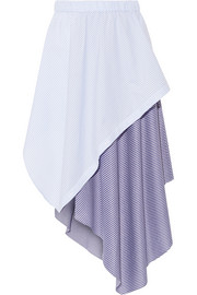 Cody wrap-effect striped cotton-blend jersey and poplin skirt