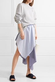 Cody wrap-effect striped jersey and poplin skirt