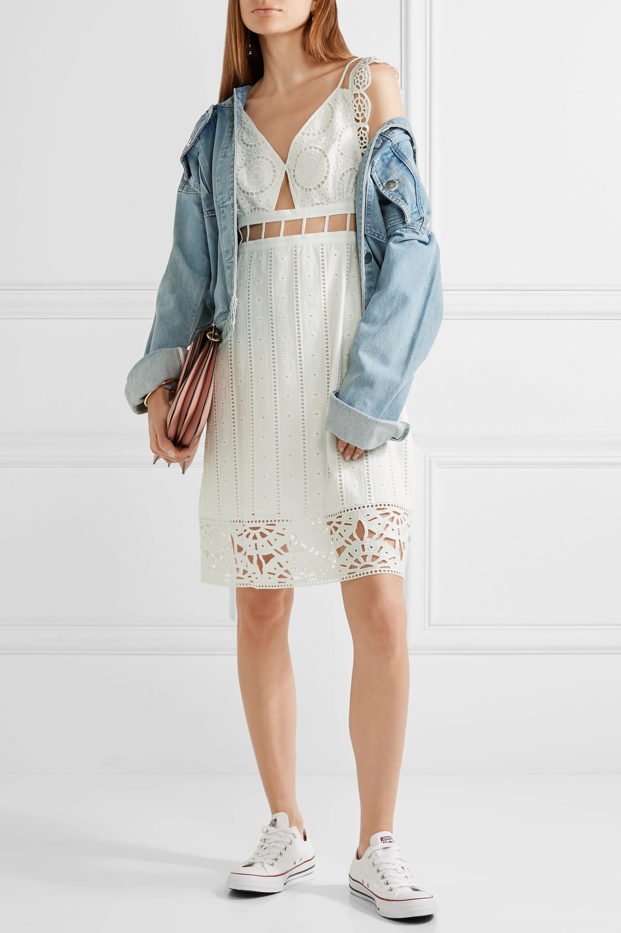 Opening Ceremony Cutout broderie anglaise cotton mini dress