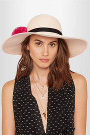 Honey feather-embellished woven paper hat