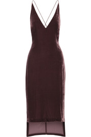 Asymmetric velvet midi dress