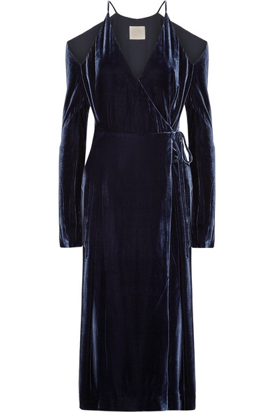 Dion Lee - Cold-shoulder Velvet Wrap Dress - Navy