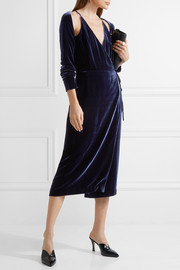 Cold-shoulder velvet wrap dress