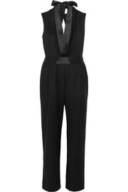 Dion Lee Open-back satin-trimmed wool-crepe jumpsuit