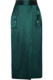 Dion Lee Wrap-effect silk-satin midi skirt