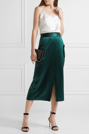 Wrap-effect silk-satin midi skirt