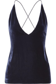 Velvet and crepe camisole