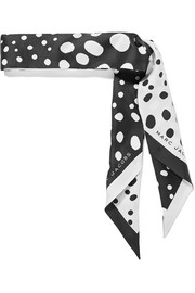 Polka-dot silk-satin twill scarf