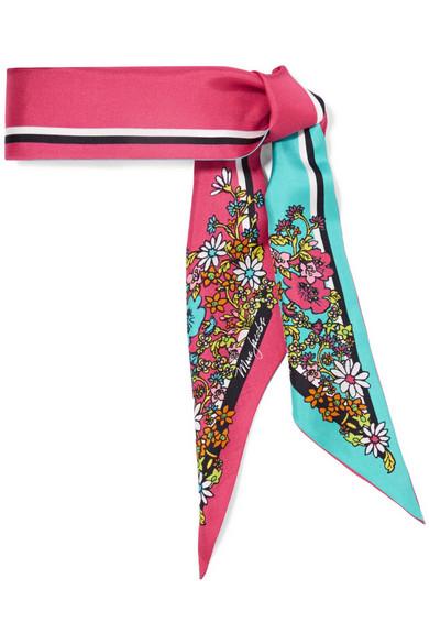marc jacobs female marc jacobs printed silktwill scarf fuchsia