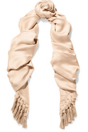 Chloé Fringed silk and wool-blend satin scarf