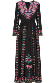 Irina embroidered silk-canvas maxi dress