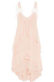 Emilia lace-trimmed ruffled silk dress