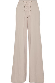 Rix lace-up pleated twill wide-leg pants
