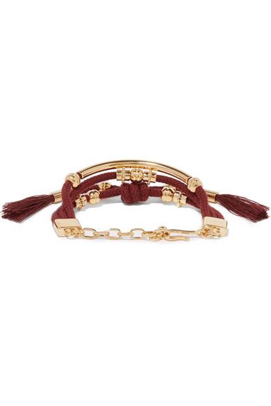 Chloé Otis Gold-tone Cord Bracelet - Burgundy nQSUejE8x