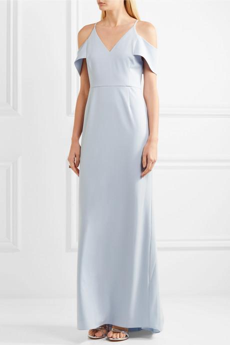 Cold-shoulder crepe gown