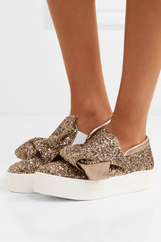 Knotted glittered leather sneakers