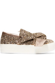 No. 21 Knotted glittered leather sneakers