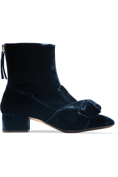 No. 21 - Knotted Velvet Ankle Boots - Navy