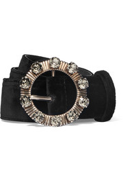 Crystal-embellished velvet waist belt