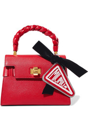Miu Miu Beaded felt, velvet and metallic textured-leather keychain