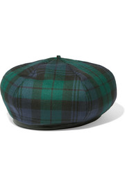 Leather-trimmed tartan wool beret