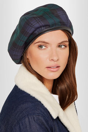 Miu Miu Leather-trimmed tartan wool beret