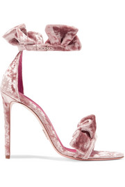 Antoinette ruffled crushed-velvet sandals