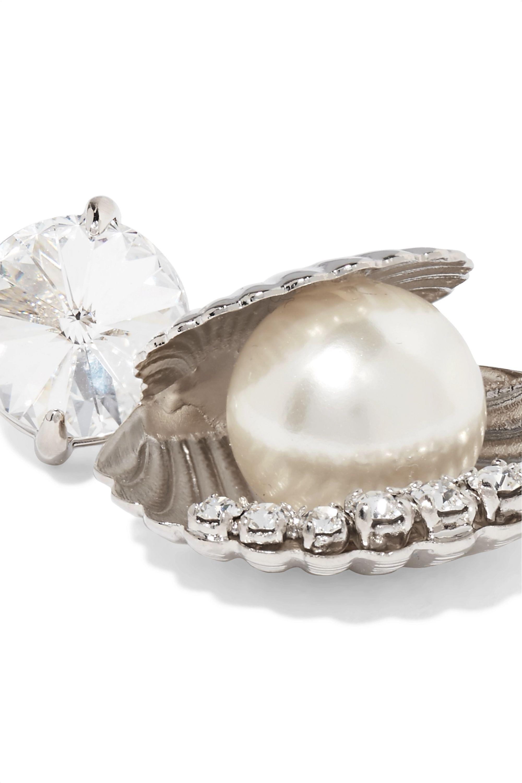 Miu Miu Silver-tone, Swarovski crystal and faux pearl earrings