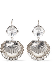 Miu Miu Silver-tone, Swarovski crystal and faux pearl earrings