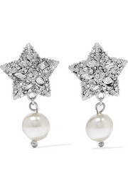 Miu Miu Silver-plated, crystal and faux pearl earrings
