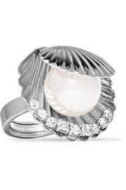 Miu Miu Silver-tone, faux pearl and crystal ring