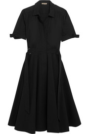 Belted stretch-cotton poplin dress