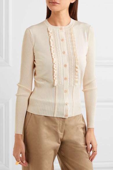 Bottega Veneta Cardigan From A Cotton Blend With Ruffles