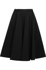 Stretch-cotton poplin midi skirt