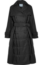 Oversized double-breasted quilted shell coat