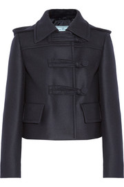 Cropped wool-felt coat