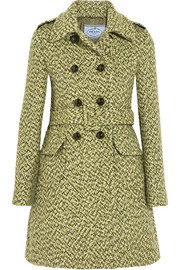 Belted double-breasted tweed coat