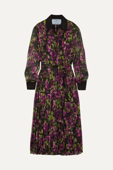 Prada - Pleated Floral-print Silk-crepon Midi Dress - Purple
