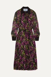 Pleated floral-print silk-crepon midi dress