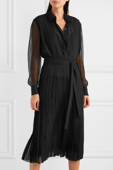 Prada pleated silk chiffon midi dress net a porter com for Net a porter usa