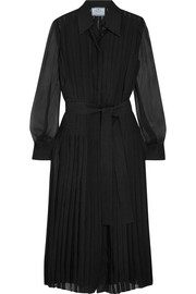 Prada Pleated silk-chiffon midi dress