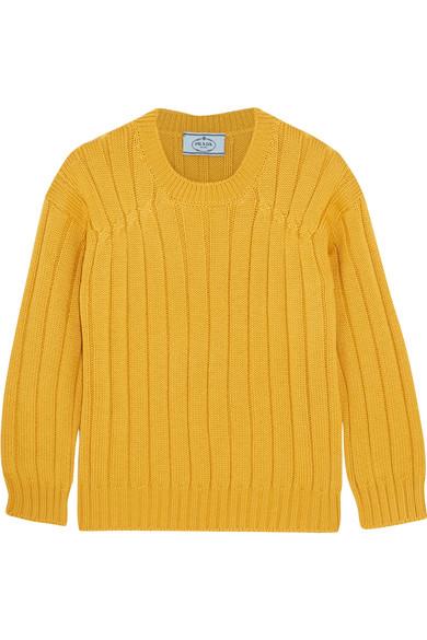 Prada - Cable-knit Wool Sweater - Mustard