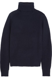 Prada Nubuck-trimmed cashmere turtleneck sweater