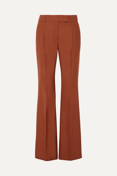 Prada - Pleated Wool-blend Hopsack Wide-leg Pants - Brown