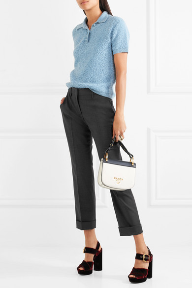 Cropped Stretch Wool Slim Leg Pants by Prada