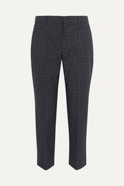 Cropped checked flannel straight-leg pants