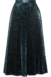 Pleated metallic jacquard midi skirt