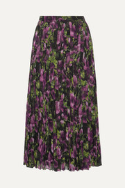 Pleated printed silk-voile midi skirt